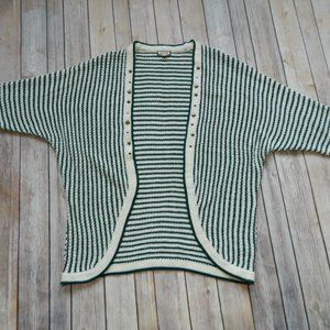 Eyeshadow Green/Ivory Knit Open Cardigan Sz S/M
